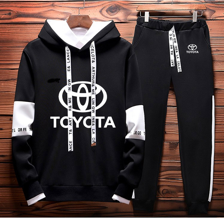 Hoodies Men Toyota Car Logo Printed Sweatshirt Fashion Men Hoodie Hip Hop Harajuku Casual Fleece Hoodies Pants Suit 2Pcs