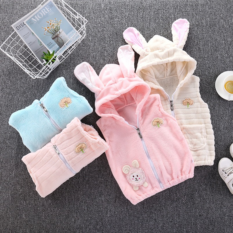 Cute Soft Comfortable Children Kids Girls Boys Rabbit Ears Hooded Keep Warm Wadded Jacket Clothes Willsa Baby Girl Clothes
