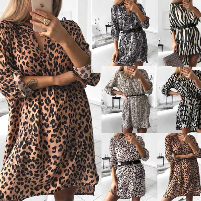 Леопардовое женское Повседневное платье с v-образным вырезом и длинным рукавом, женское платье-рубашка с животным принтом, свободное мини-осеннее платье для женщин 2019 CDR947