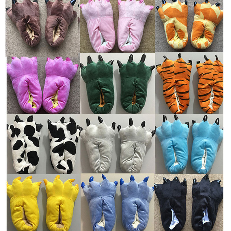 Kigurumi Animal Slippers Claw Feet Shoes Adult & Children Size Match Pajama Cartoon Unicorn Dinosaur Paw Funny Cool Winter Wear