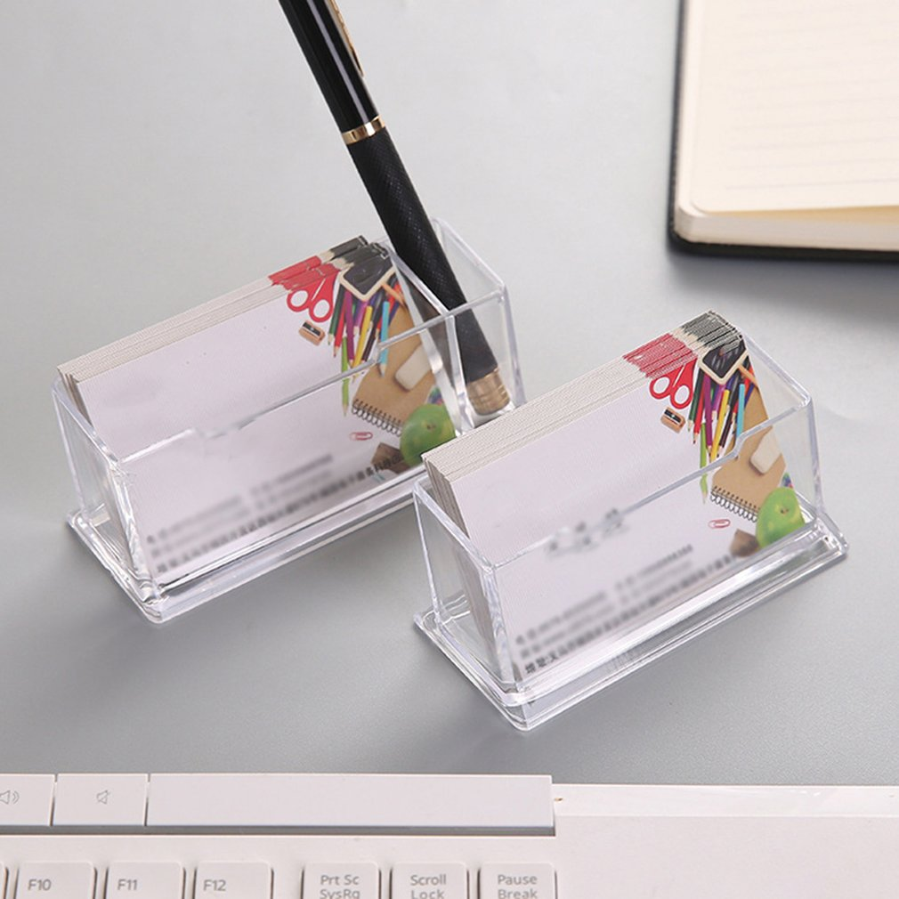 Business Card Holder Display Stand Desk Desktop Countertop Business Card Holder Desk Shelf Box With Pen Holder