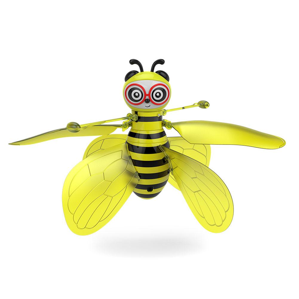 Beeshaped Aircraft IR Induction Gesture Sensing Indoor Educational Flying Toy Drone Wit LED Light And Flexible Blade Induction