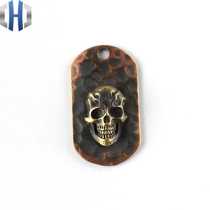 Flame Skull Steel Flame Necklace Pure Copper Pendant Red Copper EDC Pendant