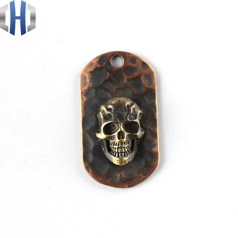 Flamme crâne acier flamme collier pur cuivre pendentif rouge cuivre EDC pendentif