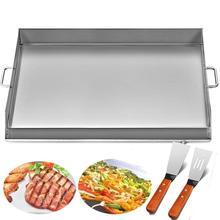 Сковородка с плоским верхом 32x17 дюймов сковородка из нержавеющей стали Plancha Comal сковородка для барбекю с ручками для ресторана или домашнего использования