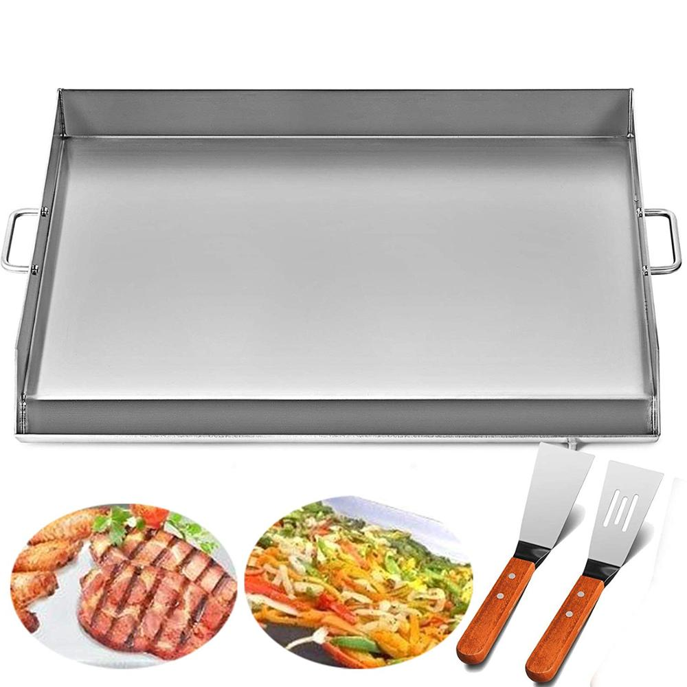 Flat Top Griddle 32x17 inches Stainless Steel Griddle Plancha Comal BBQ Griddle with Handles for Restaurant or Home Use