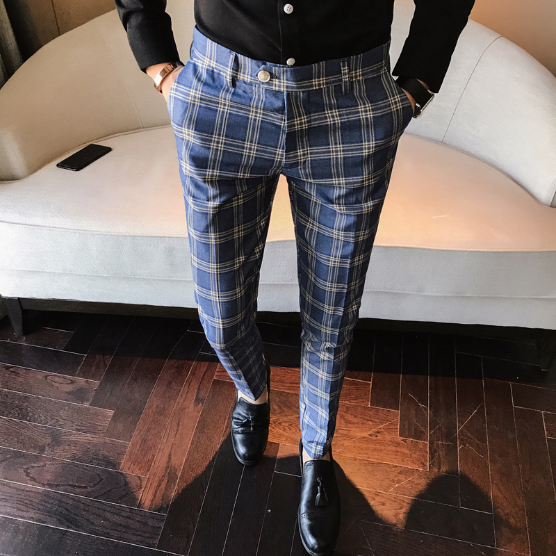 Gray Blue Men Plaid Suit Pants Slim Fit Ankle Suit Pants For Men Classic Business Office Dress Formal Check Suit Trousers P13