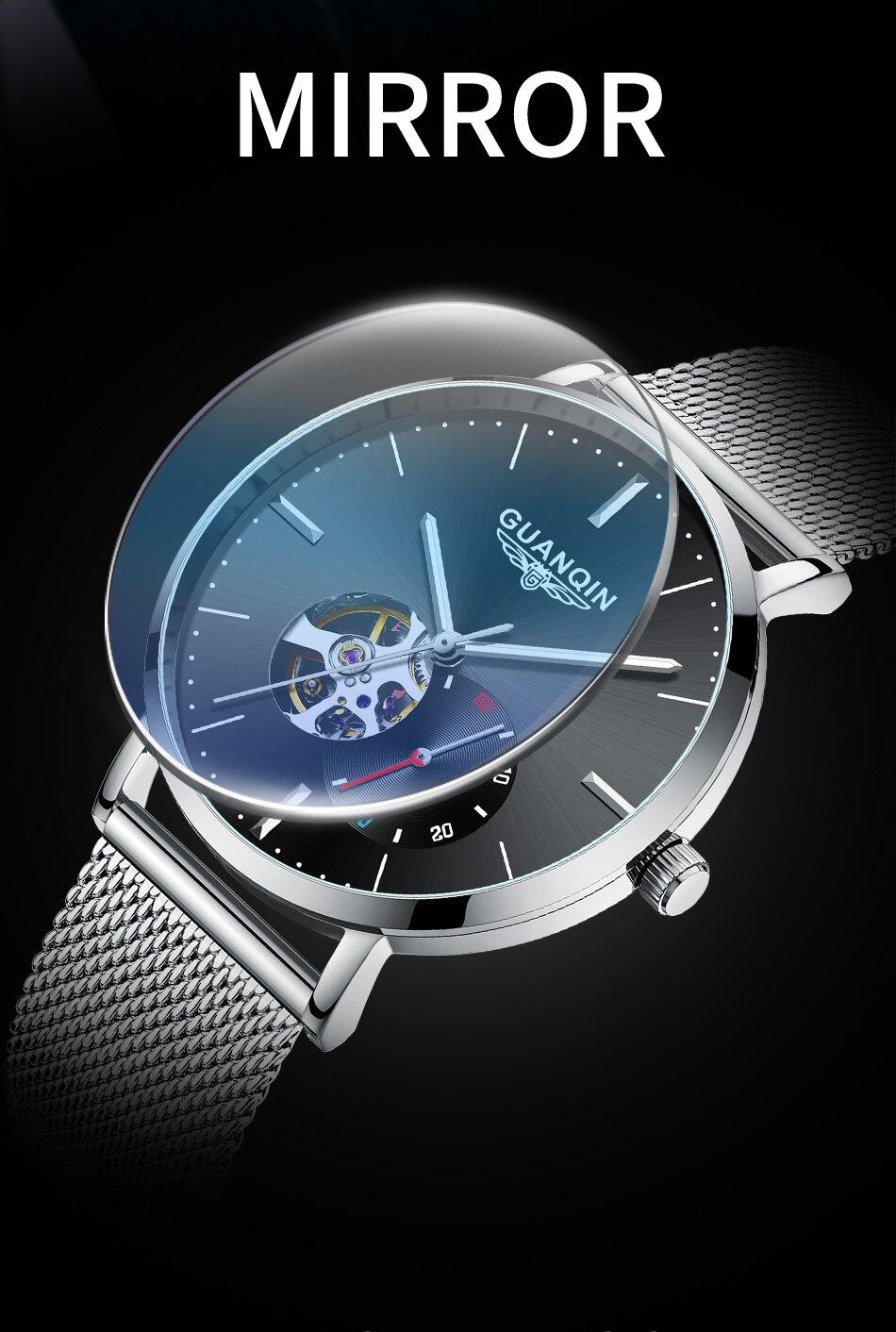 Guanqin relógio automático para homem relógio de