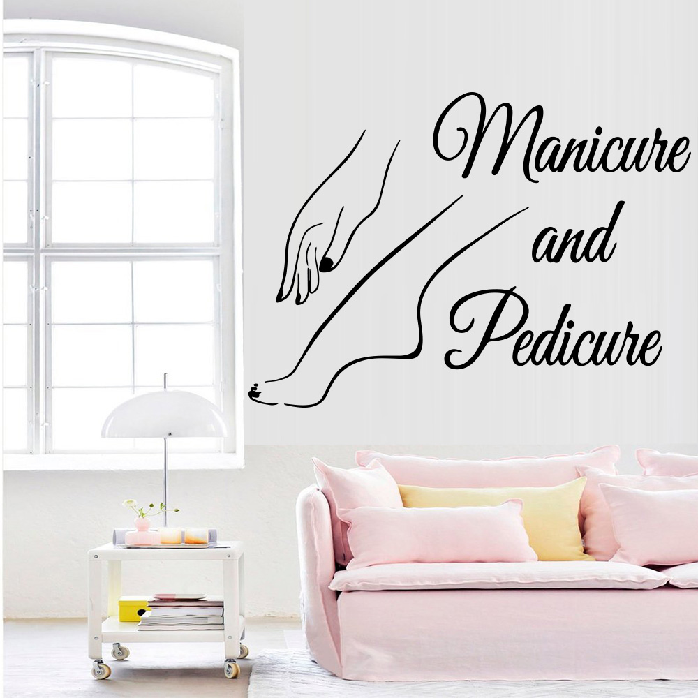 New Vinyl Nail Wall Sticker Decal Pedicure Nail Salon Manicure Art Murals Nail Salon Decoration