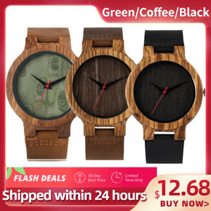 Dial Wood Watch Top-Gift Bamboo Natural Male Coffee/green Reloj-De-Madera Genuine-Leather