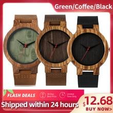 Reloj de madera natural de bambú unisex, cronógrafo con cuerpo color negro, café o verde, correa de cuero genuino, el mejor regalo de 2020