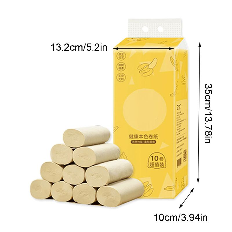 10 Roll Wood Pulp Toilet Paper Towel 4 Layers Embossed Food Grade No Core Tissue