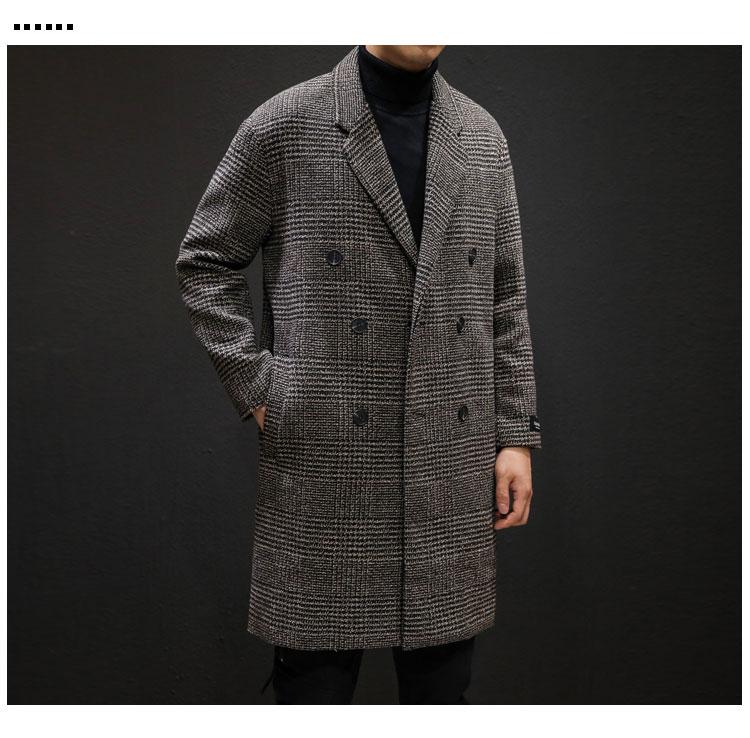 YASUGUOJI Casual Double Breasted Mens Wool Overcoat Winter 2019 Houndstooth Jacket Men Turn-down Collar Long Woollen Wind Coat 9