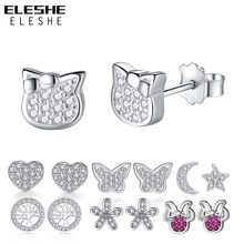 ELESHE 925 kolczyki sztyfty ze srebra wysokiej próby dla kobiet dziewczynki słodki kociak motyl nieskończoność kwiat CZ kryształowe kolczyki dla dzieci