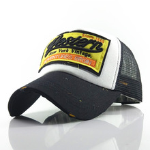 купить Retro Baseball Caps Embroidery Hats for Men  Women Adjust Sport  Snapback Mesh Hat Casual Cap Washing Cotton Letter Black Cap дешево