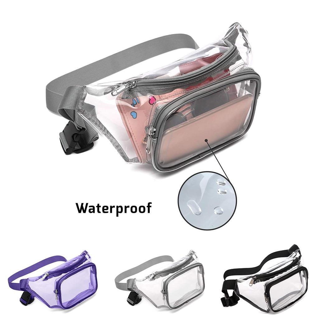 Transparent Women Waist Bag Fashion Clear Pack Waist Belt Bag Girl Fanny Chest Bag Small Phone Pack Shoulder Strap Bags J4