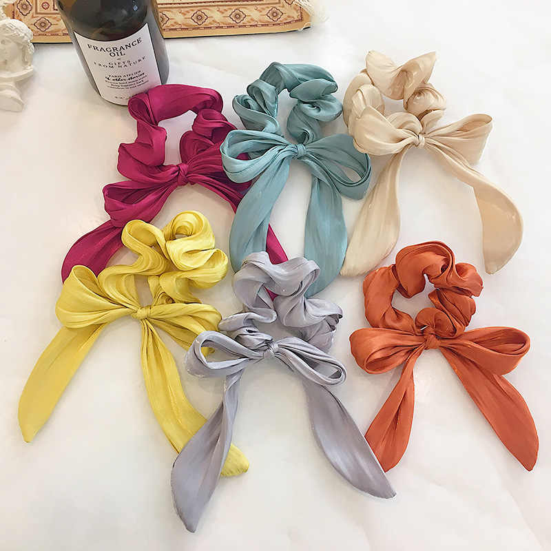 Bright Color Wavy Streamers Hair Ring Knotted Bow Scrunchies Elastic Hair band for Women Girls Hair Accessories