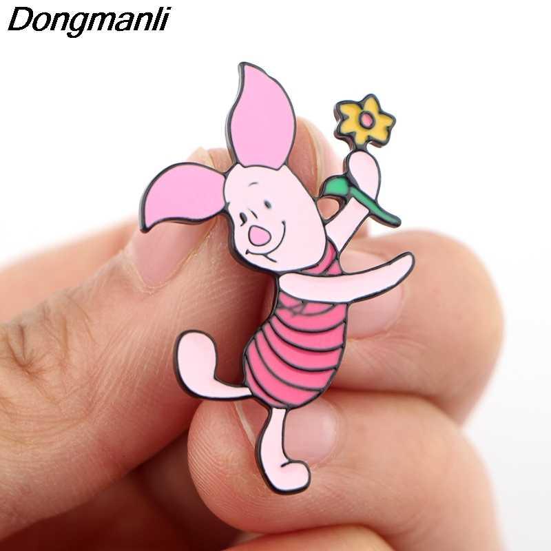 P4087 Dongmanli degli animali del fumetto della tigre Maiale Orso Donkey monili del metallo dello smalto Pins e spille Good Friend Lapel Pin Badge Gifts