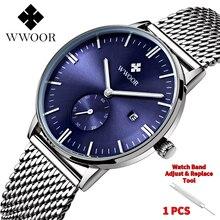relogio WWOOR Watch Men Luxury Brand Waterproof Ultra Thin Blue Quartz Wristwatc