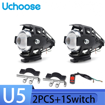 цена на Motorcycle Head Light Lamp U5 2Pcs 12V 125W Motorbike Driving Spotlight High Low Beam Flash Motorcycle Led Headlight