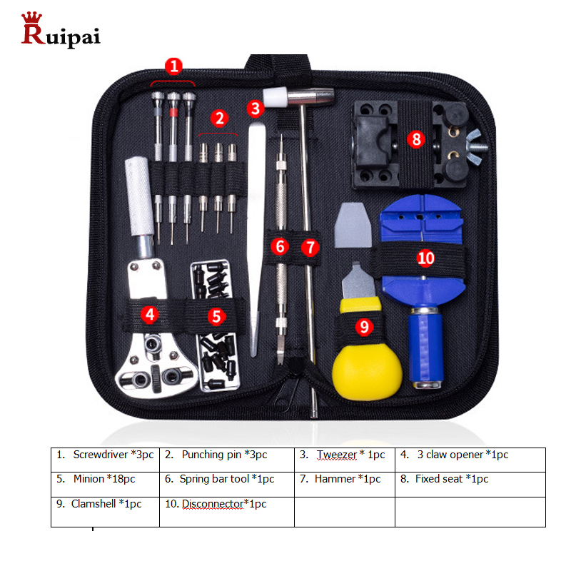 RUIPAI 14pc Watchmaker Watch Link Pin Remover Case Opener Repair Tool Kit  Spring Bar Remover Horlogemaker Gereedschap