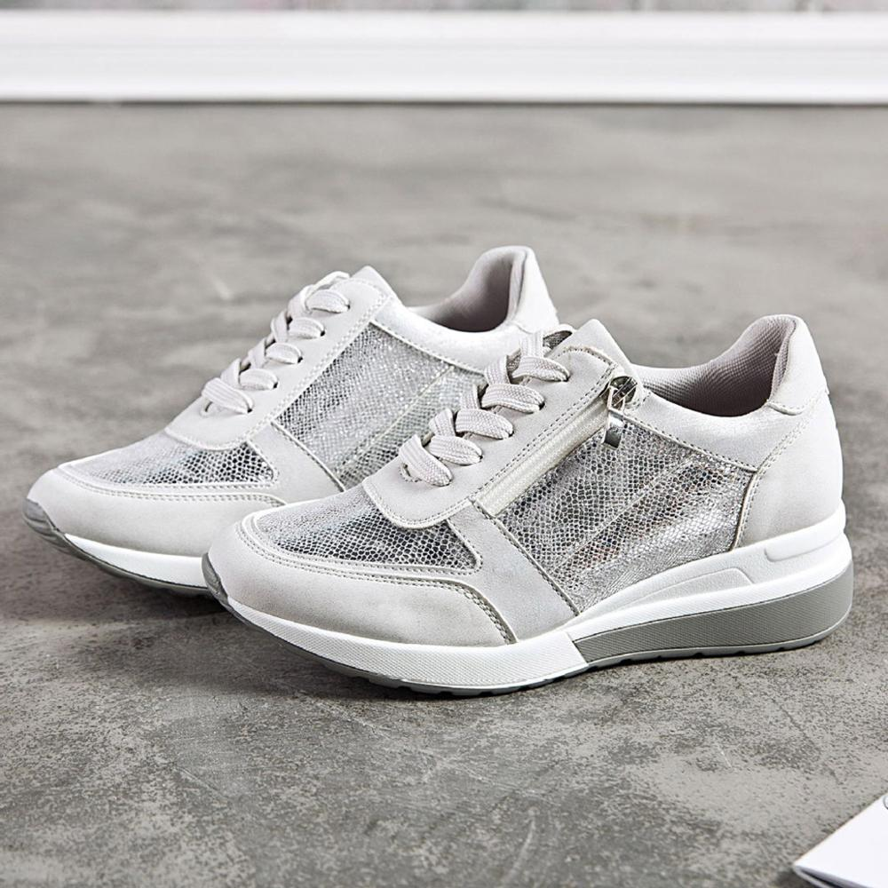 New Casual Wedge Sneakers Women Sports Fashion Brand Shoes Breathable Lightweight Lace-up Glitter Sneakers