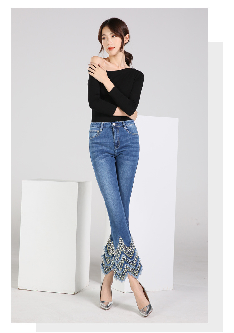 KSTUN FERZIGE Jeans for Women high waist blue elasticity flare pants embroidered beads luxury sexy female trousers brand jeans mujer 14