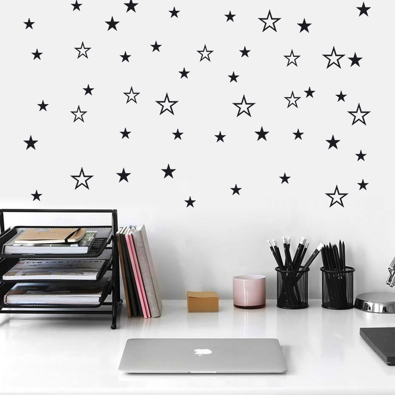 Mixed Size Hollow Solid Stars Wall Sticker For Kids Rooms Nursery Art Wall Decals Vinyl DIY Peel And Stick Cute Starry Wallpaper