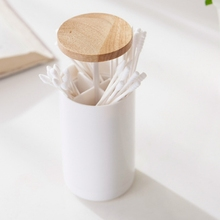 New Creative automatic wooden toothpick holder Press-type Rubber Wood Cover Cotton Swab Box Toothpick Finishing
