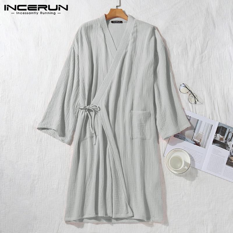 Men Cotton Robes 3/4 Sleeve V Neck Kimono Leisure Breathable Couple Pajamas Japanese Sleepwear Solid Men Bathrobes S-5XL INCERUN