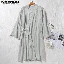 Men Cotton Robes 3/4 Sleeve V Neck Kimono Leisure Breathable