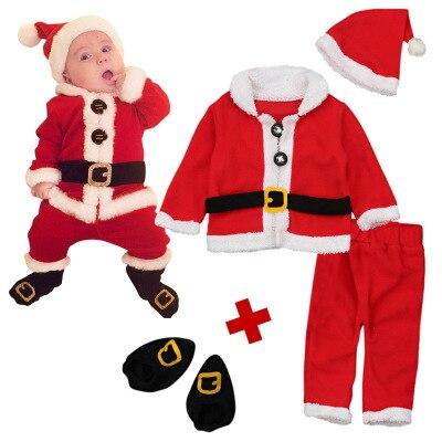 Baby Christmas Santa Claus Cosplay Costumes Newborn Holiday Red Clothing Santa Christmas Tops Pants Hat Socks Outfit Set Clothes