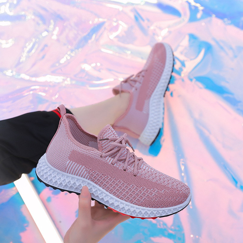 2019 summer new Korean version of fly woven hollow mesh breathable women's sports shoes all kinds of women's casual running shoe