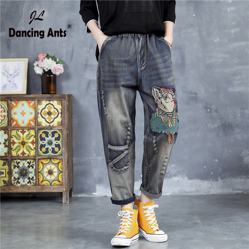Woman Jeans Elastic High Waist Loose Harem Pants Vintage Cartoon-Patchwork Cuffs Hole Casual Female Denim Trousers 2020 Fashion