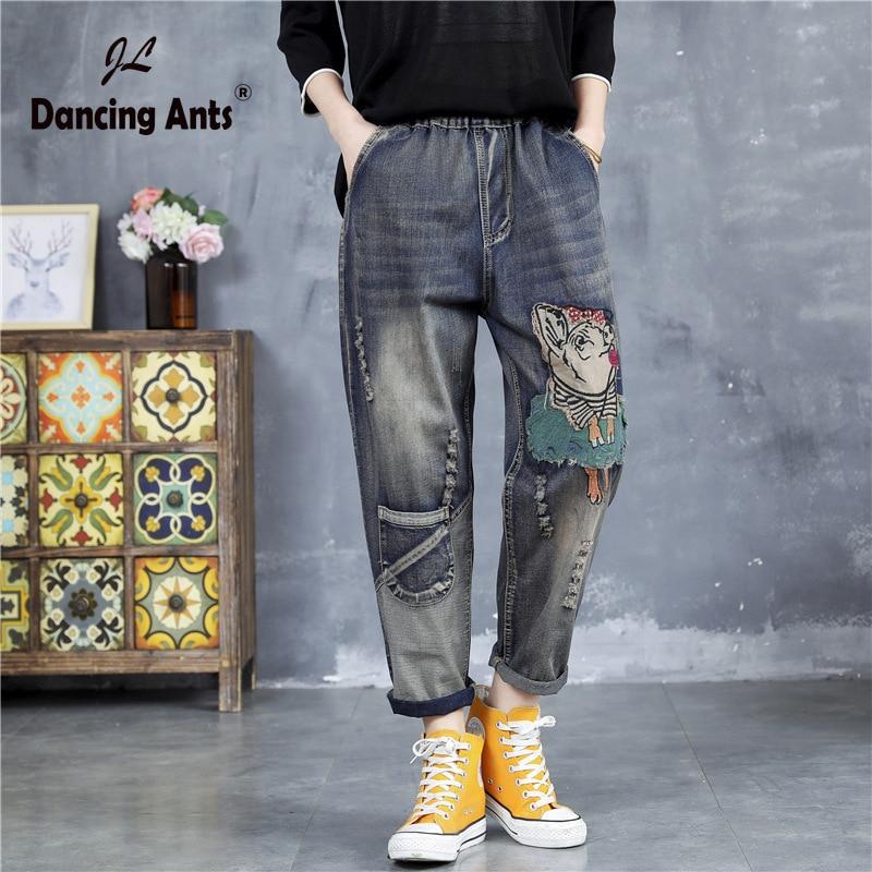 Woman Jeans Elastic High Waist Loose Harem Pants Vintage Cartoon-Patchwork Cuffs Hole Casual Female Denim Trousers 2020 Fashion