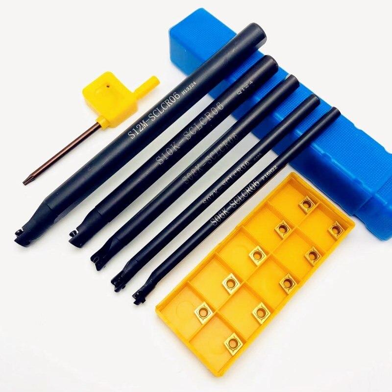 5PCS S12M SCLCR06 S06K / S07K / S08K / S10K 95 Degree Spiral Turning Tool Holder Boring Bar + 10PCS CCMT060204 Carbide Tools