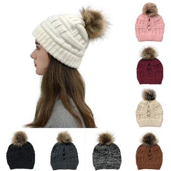 New Winter hat Beanie cap for women Cute Faux Fur Pom Ball knitted outdoor Warm casual ski caps Girl s Hat