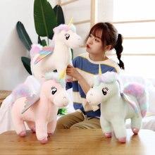 30cm Einzigartige Glowing Flügel Unicorns Plüsch Spielzeug Riesen Einhorn Kuscheltiere Puppe Flauschigen Haar Fliegen Pferd Spielzeug Briquedo Puppe