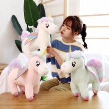 30cm ייחודי זוהר כנפי Unicorns בפלאש צעצוע ענק Unicorn ממולא בעלי חיים בובת פלאפי שיער טוס סוס צעצוע Briquedo בובה