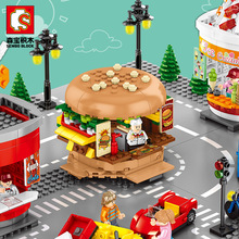 546pcs City Street View Compatible Friends Creator Ice Cream Truck Food Store Buildings Blocks Educational Toys For Children 284