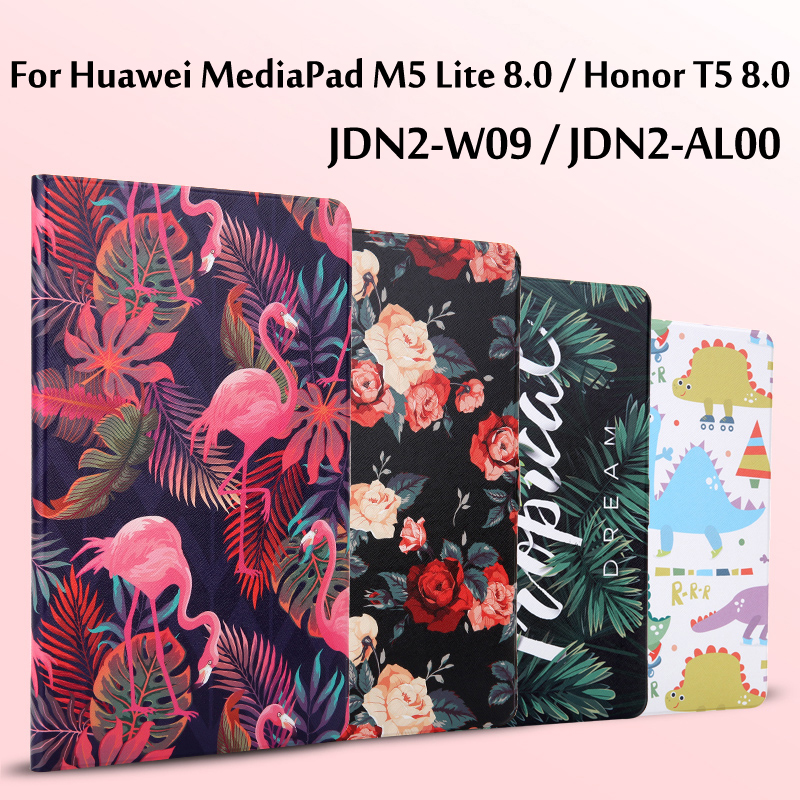 Fashion Painted Flip Case For Huawei MediaPad M5 Lite 8.0 JDN2-W09 / JDN2-AL00 Smart Cover For Huawei Honor T5 8.0 Tablet Funda