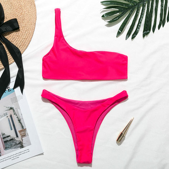 Mossha Sexy thong Pink bikini Neon swimsuit female Bathing suit One shoulder Bikini set 2020 swimwear women High cut biquini new 2