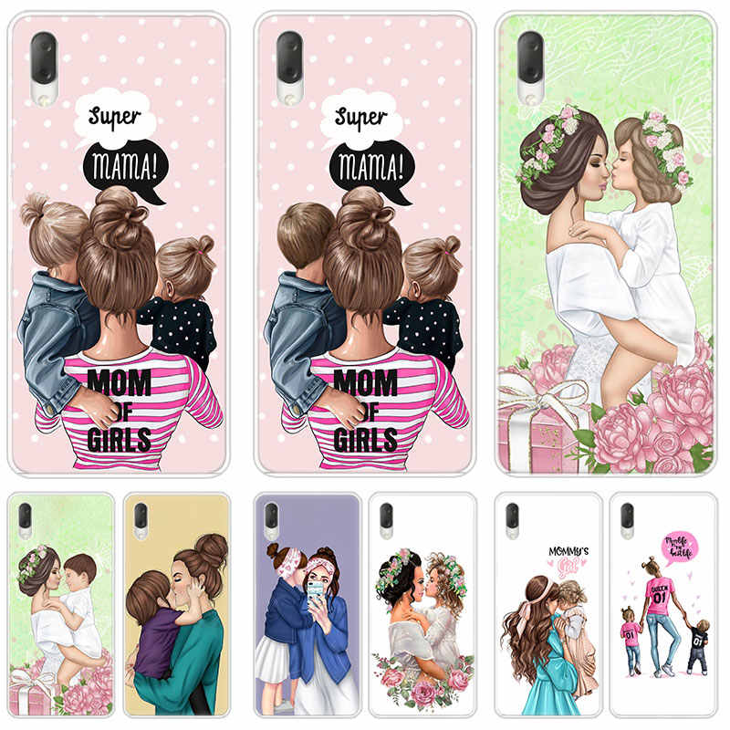 Brown Hair Baby Mom Girl Hard Case For Sony Xperia L1 L2 L3 X XA XA1 XA2 Ultra E5 XZ XZ1 XZ2 Compact XZ3 M4 Aqua Z3 Z5 Premium