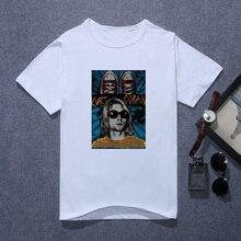 Fashion 2019 Nirvana T Shirt Men Kurt Cobain T-Shirt Daniel Johnston Rock Roll Band Street Soft White Tee Tops