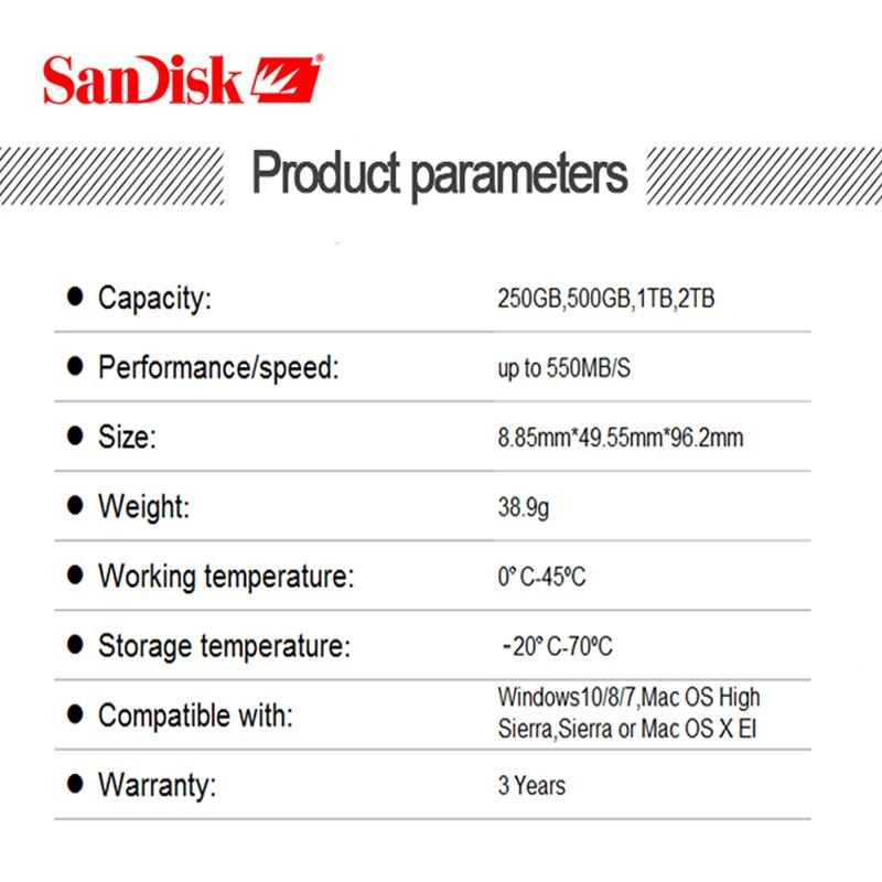 SanDisk Портативный внешний SSD 1 ТБ 500GB 250GB внешний жесткий диск SSD USB 3,1 HD SSD жесткий диск твердотельный диск для ноутбука