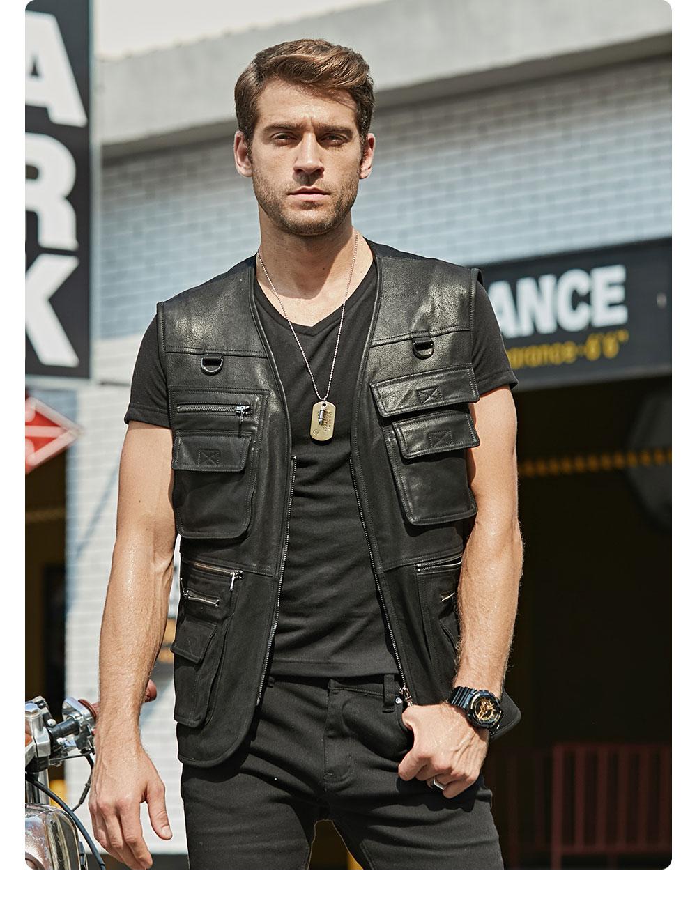 H3b24c4e7d7764b458b08ad253627f9d1L FLAVOR New Men's Real Leather Vest Men's Motorcycle Fishing Outdoor Travel Vests