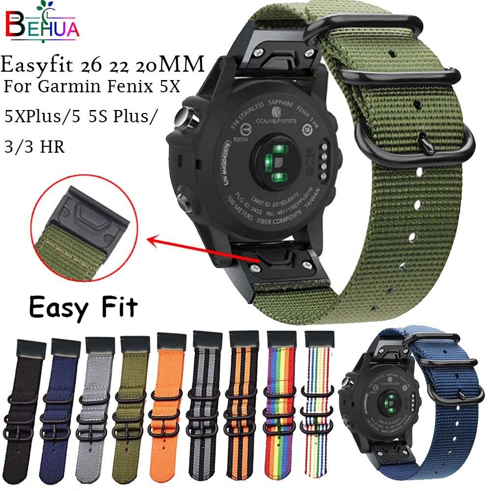 Nylon Easyfit 26 22 20MM Watchband For Garmin Fenix 5X 5 5S Plus 3 3HR Forerunner 935 945 Watches Quick Release Wrist Band Strap