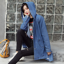 New 2019 Winter Jeans Jacket Women Lamb hair Thicken Warm Ladies Coats Loose Oversized Outerwear Hooded Denim Mid-long jacket