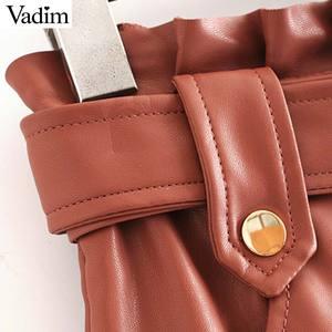 Image 4 - Vadim ผู้หญิง Chic PU หนังกระโปรง ruffles Bow Tie sashes กระเป๋าซิปจีบหญิง Basic MINI กระโปรง mujer BA779