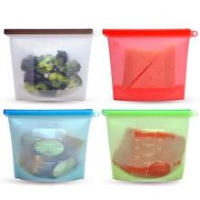 Reusable Silicone Food Storage Bags BPA Free Preservation Seal Freeze Fridge Savers KC0255
